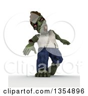 Clipart Of A 3d Zombie Character Walking On A Shaded White Background Royalty Free Illustration by KJ Pargeter