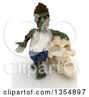 3d Zombie Character Leaning On And Shrugging By A Skull On A Shaded White Background