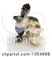 3d Zombie Character Leaning On And Pointing To A Skull On A Shaded White Background