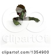 Clipart Of A 3d Zombie Character Pointing Down Over A Blank Sign On A Shaded White Background Royalty Free Illustration