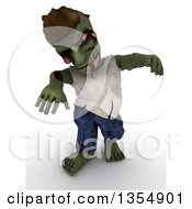 Clipart Of A 3d Zombie Character Being Scary On A Shaded White Background Royalty Free Illustration by KJ Pargeter