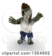 Clipart Of A 3d Zombie Character Reaching And Being Scary On A Shaded White Background Royalty Free Illustration