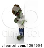 Clipart Of A 3d Zombie Character Pointing Around A Sign On A Shaded White Background Royalty Free Illustration