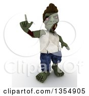 Clipart Of A 3d Zombie Character Holding Up A Finger On A Shaded White Background Royalty Free Illustration by KJ Pargeter