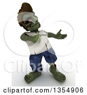 Clipart Of A 3d Zombie Character Presenting And Pointing On A Shaded White Background Royalty Free Illustration