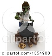3d Zombie Character Scooping An Eyeball Out Of A Cauldron On A Shaded White Background