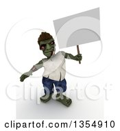 Clipart Of A 3d Zombie Character Holding A Blank Sign On A Shaded White Background Royalty Free Illustration by KJ Pargeter