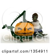 Clipart Of A 3d Zombie Character Leaning On A Giant Halloween Jackolantern Pumpkin On A Shaded White Background Royalty Free Illustration