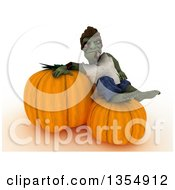 Clipart Of A 3d Zombie Character Resting On Giant Halloween Pumpkins On A Shaded White Background Royalty Free Illustration