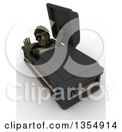 Clipart Of A 3d Zombie Character Rising From A Coffin On A Shaded White Background Royalty Free Illustration by KJ Pargeter