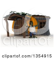 Clipart Of A 3d Zombie Character Waving Outside His Pumpkin House On A Shaded White Background Royalty Free Illustration by KJ Pargeter
