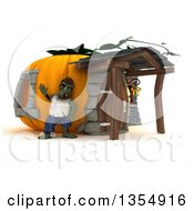 Clipart Of A 3d Zombie Character Waving Outside A Pumpkin House On A Shaded White Background Royalty Free Illustration by KJ Pargeter