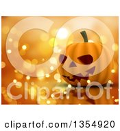 Clipart Of A 3d Halloween Jackolantern Pumpkin On A Reflective Surface And A Background Of Sparkly Lights Royalty Free Illustration