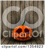 Clipart Of A 3d Halloween Jackolantern Pumpkin Over Wood Royalty Free Illustration by KJ Pargeter