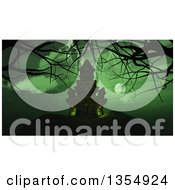 Clipart Of A 3d Haunted Halloween Castle With Bare Tree Branches Under A Full Moon And Green Sky With Lightning Royalty Free Illustration