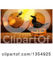 Clipart Of A 3d Halloween Jackolantern Pumpkin Wearing A Hat Against A Blurred Background Of A Silhouetted Witch Flying Over A Graveyard With Bats And A Full Moon Royalty Free Illustration