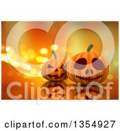 Clipart Of 3d Halloween Jackolantern Pumpkins On A Reflective Surface And A Background Of Sparkly Lights Royalty Free Illustration