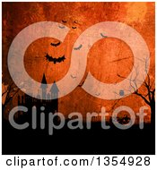 Halloween Jackolantern Pumpkins Near A Haunted Castle With Bats And An Owl Over Orange Grunge