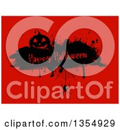 Silhouetted Jackolantern Pumpkin On A Happy Halloween Grunge Bar With A Spider And Web Over Red