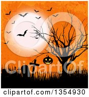 Clipart Of A Hanging Halloween Jackolantern Pumpkin In A Silhouetted Bare Tree Over An Abandoned Cemetery With Flying Bats And A Full Moon On Orange Grunge Royalty Free Vector Illustration by KJ Pargeter