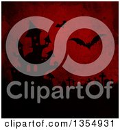 Silhouetted Haunted Halloween Castle Tombstomes And Flying Vampire Bats On Red Grunge