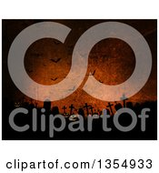 Clipart Of Halloween Jackolantern Pumpkins In A Cemetery Under Silhouetted Bats On Grungy Orange Royalty Free Illustration by KJ Pargeter