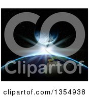 Clipart Of A 3d Planet Earth With A Bright Star And Fictional Planet Royalty Free Illustration
