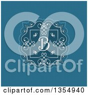 Clipart Of A White Frame With Retro Swirls And A Letter B Monogram Over Blue Royalty Free Vector Illustration