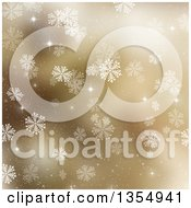 Clipart Of A Gold Snowflake Winter Or Christmas Background With Shining Stars Royalty Free Illustration