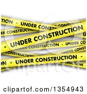 Clipart Of A Background Of Yellow Under Construction Tape Over Shaded White Royalty Free Vector Illustration by KJ Pargeter