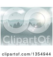 Clipart Of A Backgorund Of Birds Soaring Over A Forest Lake And Mountains On A Winter Day Royalty Free Vector Illustration by KJ Pargeter