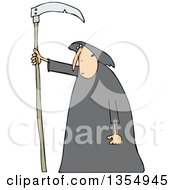 Cartoon Hooded White Grim Reaper Man With A Scythe