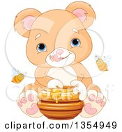 Clipart Of A Cute Baby Or Teddy Bear Cub Eating Honey With Bees Royalty Free Vector Illustration by Pushkin