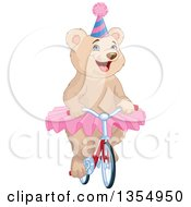 Clipart Of A Happy Circus Bear Wearing A Tutu And Party Hat And Riding A Bicycle Royalty Free Vector Illustration