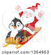 Clipart Of A Cute Penguin And Santa Going Downhill On A Sled Royalty Free Vector Illustration by Pushkin