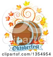 Clipart Of A Beer Keg With Autumn Leaves And Swirls Over An Oktoberfest Banner Royalty Free Vector Illustration
