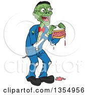 Cartoon Bespectacled Male Zombie Eating A Brain Sandwich