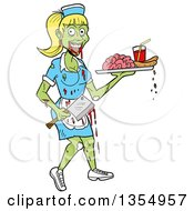 Cartoon Female Zombie Waitress Holding An Axe And Serving Brains And Blood