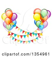 Clipart Of Colorful Party Balloons Floating With Bunting Banners Royalty Free Vector Illustration