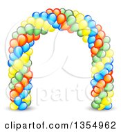 Clipart Of A Colorful Party Balloon Entrance Arch Royalty Free Vector Illustration