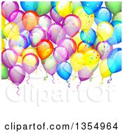 Clipart Of A Colorful Party Balloon And Confetti Background Over Text Space Royalty Free Vector Illustration by vectorace