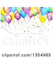 Clipart Of A Colorful Party Balloon And Confetti Background Royalty Free Vector Illustration by vectorace