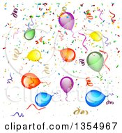 Clipart Of A Background Of Colorful Party Balloons Streamers And Confetti Royalty Free Vector Illustration by vectorace #COLLC1354967-0166