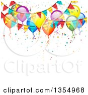 Clipart Of A Background Of Colorful Party Balloons Confetti And Bunting Banners Royalty Free Vector Illustration