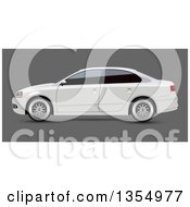 White Sedan Car With Dark Window Tint On Gray
