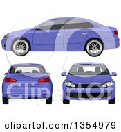 Purple Sedan Car Shown At Three Different Angles