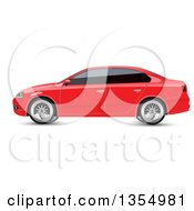 Red Sedan Car With Dark Window Tint
