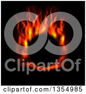 Clipart Of A Red Hot Fire Circle On Black Royalty Free Vector Illustration