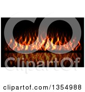 Clipart Of A Red Hot Fire Burning On Black Royalty Free Vector Illustration