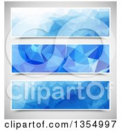 Clipart Of Blue Geometric Website Banner Headers Over Gray Royalty Free Vector Illustration by vectorace